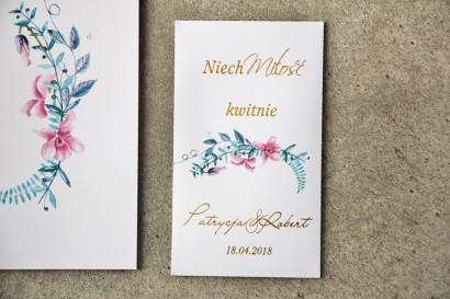 Podziękowania dla Gości weselnych - Nasiona Niezapominajki - Cykade nr 8 ze złoceniem - Delikatne kwiaty pastelowych fiołków.
