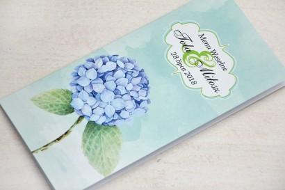 Menu weselne, stół weselny - Felicja nr 16 - Niebieskie hortensje - kwiatowe dodatki ślubne