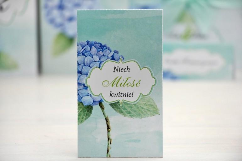 Podziękowania dla Gości weselnych - nasiona Niezapominajki - Felicja nr 16 - Błękitne hortensje - kwiatowe dodatki ślubne