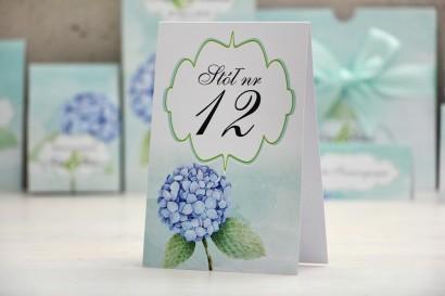 Numery stolików, stół weselny, ślub - Felicja nr 16 - Błękitne hortensje - dodatki ślubne