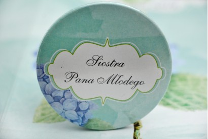 Przypinki dla Gości weselnych, dodatki na wesele, ślub, przypinka - Felicja nr 16 - Błękitne hortensje