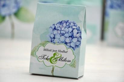 Pudełeczko stojące na cukierki, podziękowania dla Gości weselnych - Felicja nr 16 - Niebieskie hortensje - dodatki ślubne
