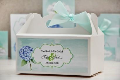 Prostokątne pudełko na ciasto, tort weselny, ślub - Felicja nr 16 - Błękitne hortensje - kwiatowe dodatki ślubne