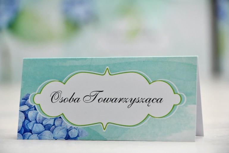 Winietki na stół weselny, ślub - Felicja nr 16 - Niebieskie hortensje - kwiatowe dodatki ślubne
