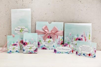 Zaproszenie ślubne z dodatkami weselnymi - Felicja nr 17 - Kwiatowa kompozycja w intensywnych kolorach