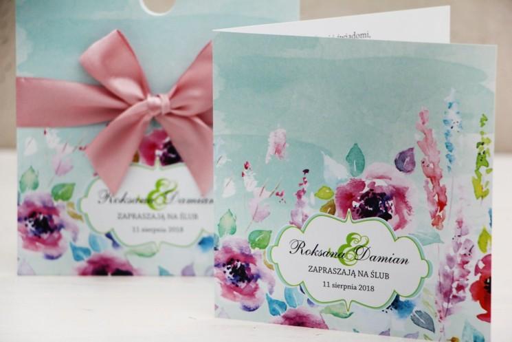 Zaproszenie ślubne, zaproszenia na ślub kwiatowe z kokardą - Felicja nr 17 - Kwiatowa kompozycja w intensywnych kolorach