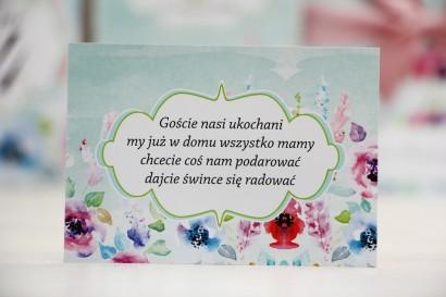 Bilecik prezenty ślubne wesele - Felicja nr 17 - Kolorowe kwiaty - zaproszenia na ślub