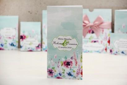 Menu weselne, stół weselny - Felicja nr 17 - Kolorowe kwiaty - kwiatowe dodatki ślubne