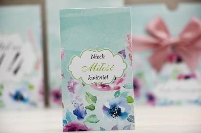Podziękowania dla Gości weselnych - nasiona Niezapominajki - Felicja nr 17 - Kolorowe pastelowe kwiaty - kwiatowe dodatki ślubne
