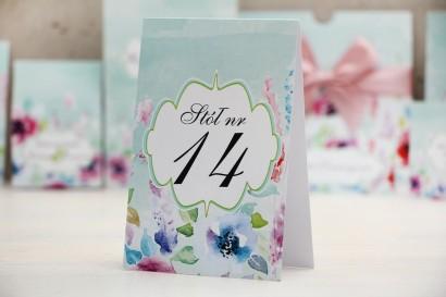 Numery stolików, stół weselny, ślub - Felicja nr 17 - Kolorowe kwiaty - dodatki ślubne
