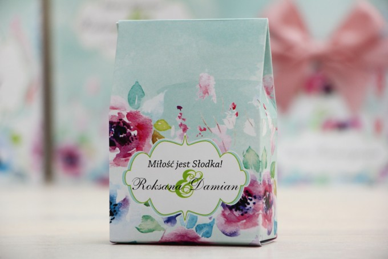 Pudełeczko stojące na cukierki, podziękowania dla Gości weselnych - Felicja nr 17 - Kolorowe kwiaty - dodatki ślubne