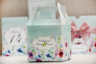 Pudełko na ciasto kwadratowe, tort weselny - Felicja nr 17 - Kolorowe kwiaty - kwiatowe dodatki ślubne