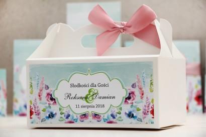 Prostokątne pudełko na ciasto, tort weselny, ślub - Felicja nr 17 - Kolorowe kwiaty - kwiatowe dodatki ślubne