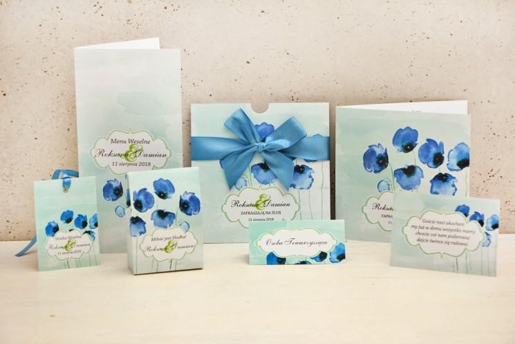 Zaproszenie ślubne z dodatkami weselnymi - Felicja nr 18 - Chabrowe maki na pastelowym miętowym tle