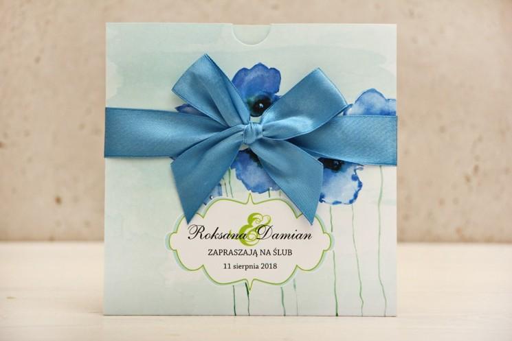 Zaproszenie ślubne, zaproszenia na ślub kwiatowe z kokardą - Felicja nr 18 - Chabrowe maki na pastelowym miętowym tle