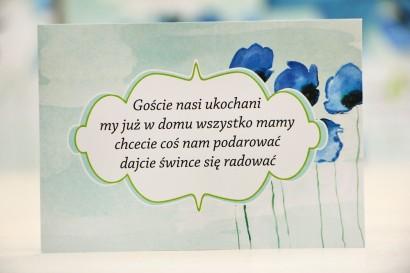 Bilecik prezenty ślubne wesele - Felicja nr 18 - Chabrowe maki - zaproszenia na ślub