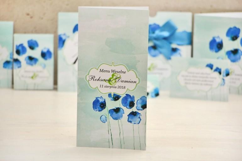 Menu weselne, stół weselny - Felicja nr 18 - Chabrowe maki - kwiatowe dodatki ślubne