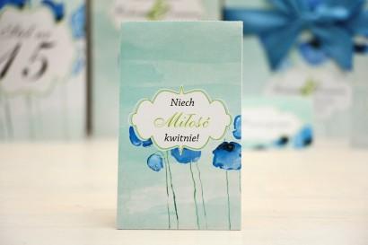 Podziękowania dla Gości weselnych - nasiona Niezapominajki - Felicja nr 18 - Chabrowe maki - kwiatowe dodatki ślubne