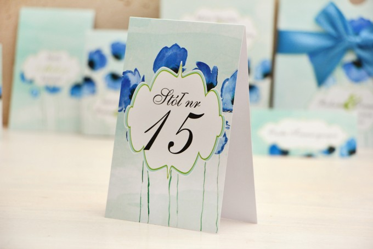 Numery stolików, stół weselny, ślub - Felicja nr 18 - Chabrowe maki - dodatki ślubne