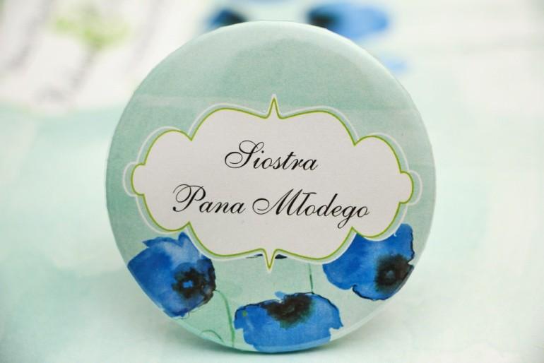 Przypinki dla Gości weselnych, dodatki na wesele, ślub, przypinka - Felicja nr 18 - Chabrowe maki