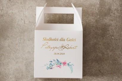 Pudełko na ciasto kwadratowe, tort weselny - Cykade nr 8 ze złoceniem - Pastelowe kwiaty fiołka