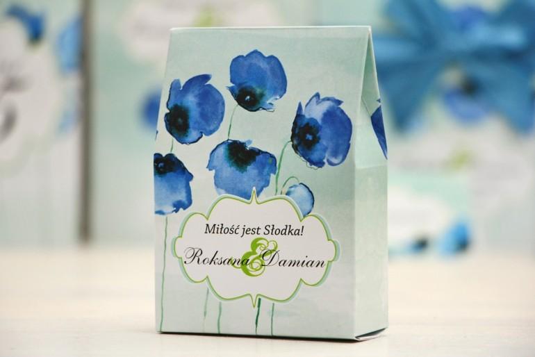 Pudełeczko stojące na cukierki, podziękowania dla Gości weselnych - Felicja nr 18 - Chabrowe maki - dodatki ślubne