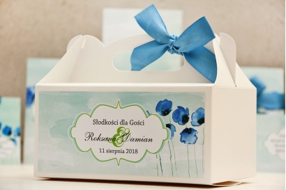 Prostokątne pudełko na ciasto, tort weselny, ślub - Felicja nr 18 - Chabrowe maki - kwiatowe dodatki ślubne