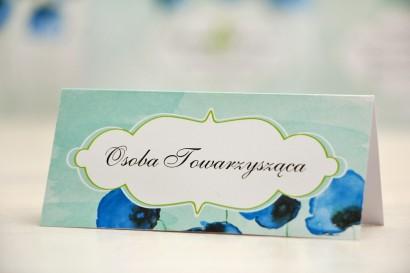 Winietki na stół weselny, ślub - Felicja nr 18 - Chabrowe maki - kwiatowe dodatki ślubne