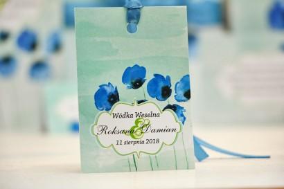 Zawieszka na butelkę, wódka weselna, ślub - Felicja nr 18 - Chabrowe maki - kwiatowe dodatki ślubne