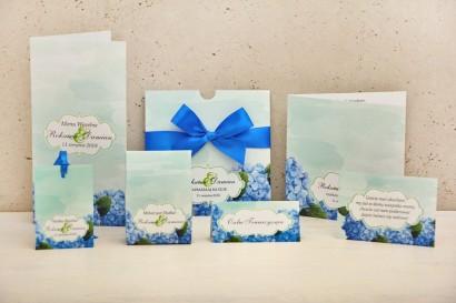 Zaproszenie ślubne z dodatkami weselnymi - Felicja nr 19 - Niebieskie hortensje