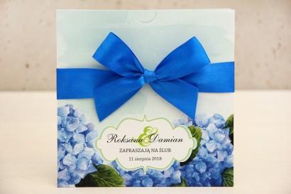 Zaproszenie ślubne, zaproszenia na ślub kwiatowe z kokardą - Felicja nr 19 - Niebieskie hortensje