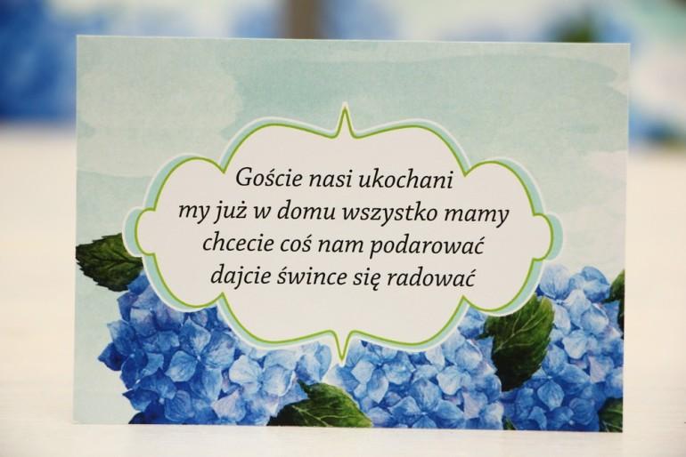 Bilecik prezenty ślubne wesele - Felicja nr 19 - Niebieskie hortensje - Zaproszenia na ślub