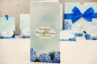 Menu weselne, stół weselny - Felicja nr 19 - Niebieskie hortensje - kwiatowe dodatki ślubne