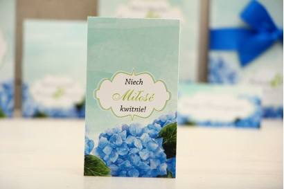 Podziękowania dla Gości weselnych - nasiona Niezapominajki - Felicja nr 19 - niebieskie hortensje - kwiatowe dodatki ślubne