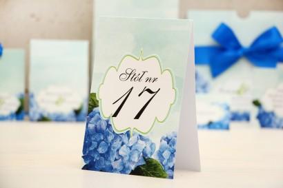 Numery stolików, stół weselny, ślub - Felicja nr 19 - Niebieskie hortensje - dodatki ślubne