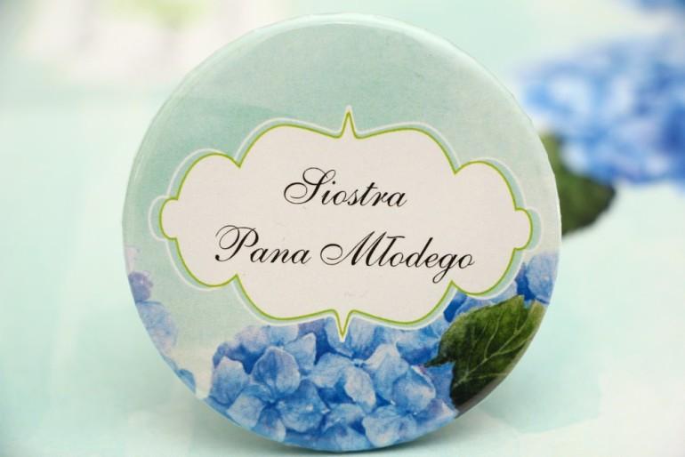 Przypinki dla Gości weselnych, dodatki na wesele, ślub, przypinka - Felicja nr 19 - Niebieskie hortensje