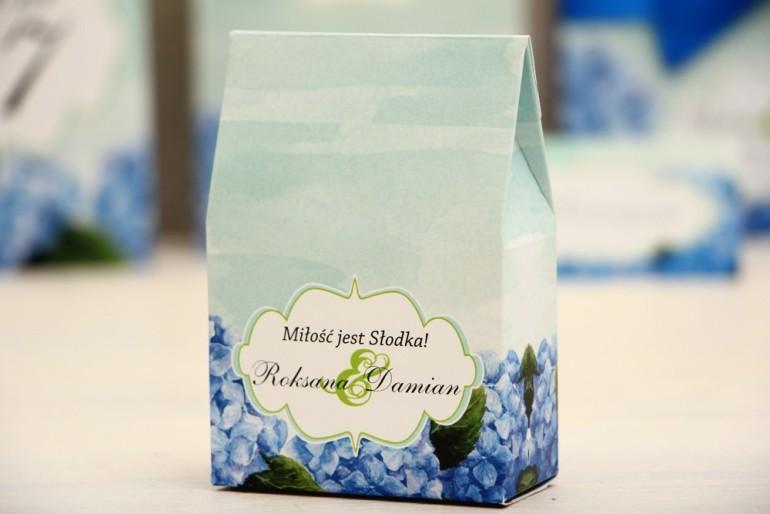Pudełeczko stojące na cukierki, podziękowania dla Gości weselnych - Felicja nr 19 - Hortensje - dodatki ślubne