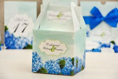 Pudełko na ciasto kwadratowe, tort weselny - Felicja nr 19 - Niebieskie hortensje - kwiatowe dodatki ślubne