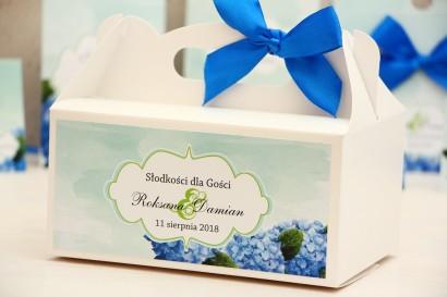 Prostokątne pudełko na ciasto, tort weselny, ślub - Felicja nr 19 - Niebieskie hortensje - kwiatowe dodatki ślubne