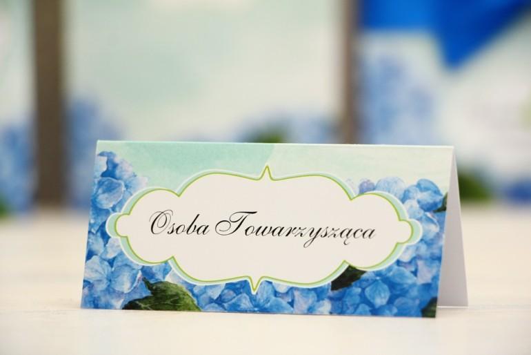 Winietki na stół weselny, ślub - Felicja nr 19 - Niebieskie hortensje - kwiatowe dodatki ślubne