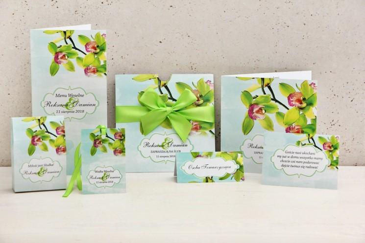 Zaproszenie ślubne z dodatkami weselnymi - Felicja nr 20 - Zielone orchidee