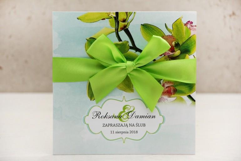 Zaproszenie ślubne, zaproszenia na ślub kwiatowe z kokardą - Felicja nr 20 - Zielone orchidee