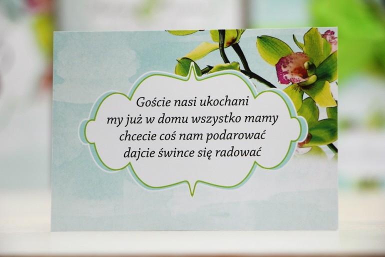 Bilecik prezenty ślubne wesele - Felicja nr 20 - Zielone orchidee - Zaproszenia na ślub
