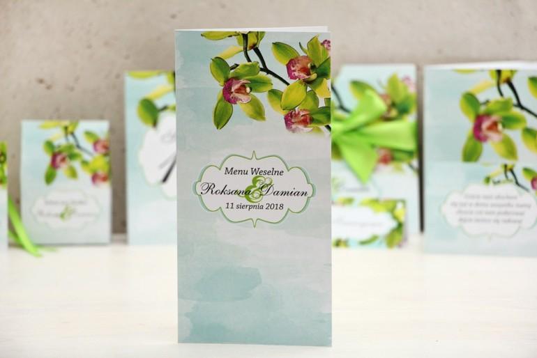 Menu weselne, stół weselny - Felicja nr 20 - Zielone orchidee - kwiatowe dodatki ślubne