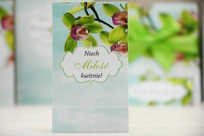 Podziękowania dla Gości weselnych - nasiona Niezapominajki - Felicja nr 20 - Zielone orchidee - kwiatowe dodatki ślubne