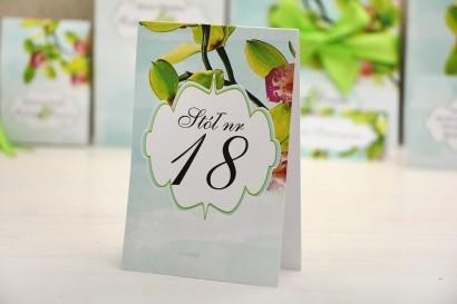 Numery stolików, stół weselny, ślub - Felicja nr 20 - Orchidea, storczyki - dodatki ślubne