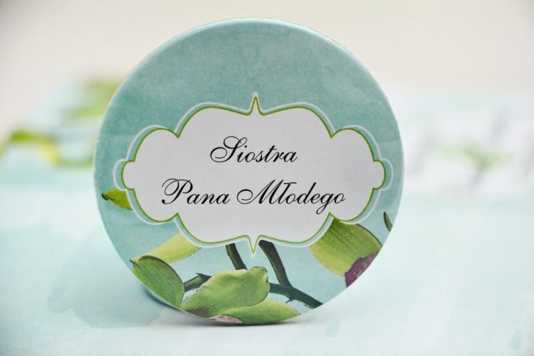 Przypinki dla Gości weselnych, dodatki na wesele, ślub, przypinka - Felicja nr 20 - Zielone orchidee