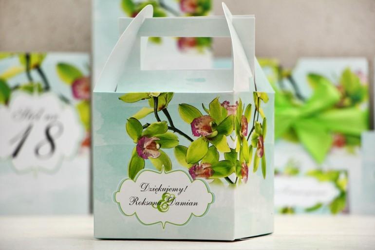 Pudełko na ciasto kwadratowe, tort weselny - Felicja nr 20 - Zielone orchidee - kwiatowe dodatki ślubne