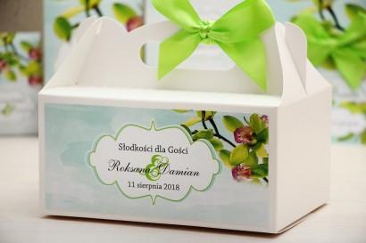 Prostokątne pudełko na ciasto, tort weselny, ślub - Felicja nr 20 - Zielone orchidee - kwiatowe dodatki ślubne