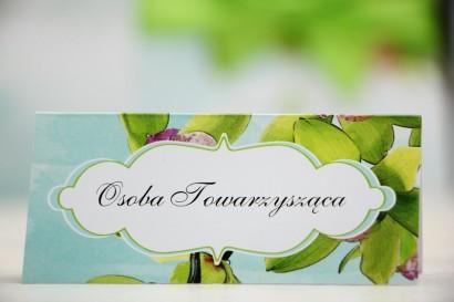 Winietki na stół weselny, ślub - Felicja nr 20 - Zielone orchidee - kwiatowe dodatki ślubne